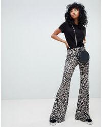 Pull&Bear - Leopard Print Kickflare - Lyst
