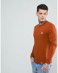 Pretty Green - Crew Neck Jumper In Orange - Lyst