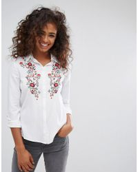 Esprit - Floral Embroidered Shirt - Lyst