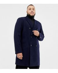 ASOS - Plus Wool Mix Double Breasted Overcoat In Navy - Lyst