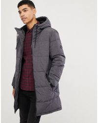 Esprit - Puffer Coat In Grey Melange With Hood - Lyst