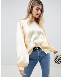 ASOS - Long Sleeve Satin Blouse With High Neck And Open Back - Lyst