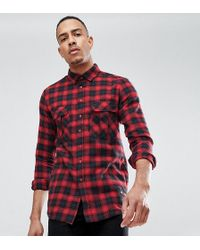 Sixth June - Tall Oversized Flannel Check Shirt In Red - Lyst
