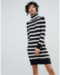 Pieces - Hella Stripe Rollneck Mohair Mix Knit Jumper Dress - Lyst