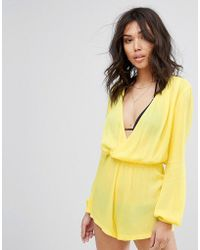 PrettyLittleThing - Cheesecloth Wrap Playsuit - Lyst