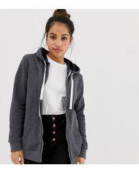 ASOS - Asos Design Petite Zip Through Hoodie In Charcoal - Lyst