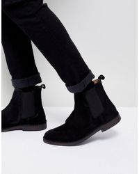 SELECTED - Suede Chelsea Boots In Black - Lyst