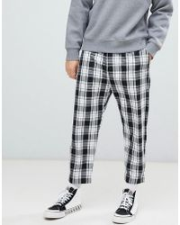 Bershka - Loose Fit Check Trousers In Black With Elastic Waist - Lyst
