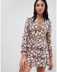 Motel - Tea Dress In Romantic Floral - Lyst