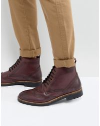 Frank Wright - Brogue Boots Burgundy Leather - Lyst