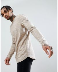 ASOS - Asos Longline Long Sleeve T-shirt With Curve Hem In Beige Inject - Lyst