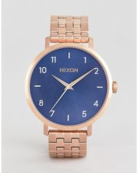 Nixon - A1090 Arrow Bracelet Watch In Rose Gold/blue - Lyst