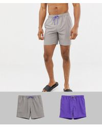 ASOS - Swim Shorts 2 Pack In Purple & Grey Mid Length Save - Lyst