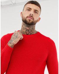 Bershka - Knitted Jumper In Red - Lyst