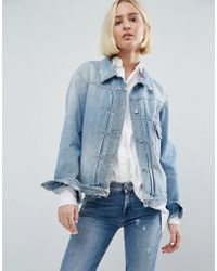 7 For All Mankind - Embroidered Denim Jacket - Lyst
