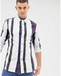 New Look - Regular Fit Shirt In Burgundy Stripe - Lyst