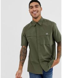 Fred Perry - Utility Short Sleeve Shirt In Green - Lyst