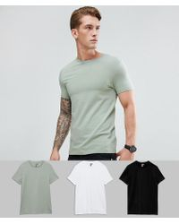 ASOS DESIGN - Muscle Fit T-shirt With Crew Neck 3 Pack Save - Lyst