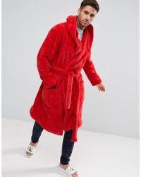 ASOS - Hooded Robe In Fleece - Lyst