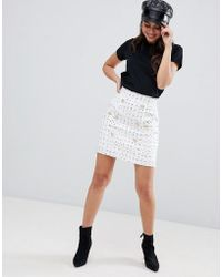 ASOS - Boucle Double Breasted Mini Skirt With Gold Buttons - Lyst