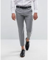 Mango - Man Slim Fit Smart Trousers In Light Grey - Lyst