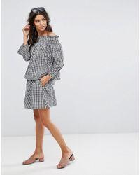 Vero Moda   Gingham Mini Skirt   Lyst