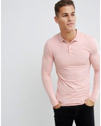 011d7b16 Lyst - ASOS Muscle Fit Long Sleeve Jersey Polo In Beige in Natural ...