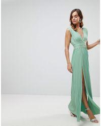 ASOS - Asos Premium Lace Insert Pleated Maxi Dress - Lyst