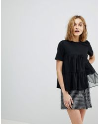 Lost Ink - Relaxed T-shirt With Woven Chiffon Panels - Lyst