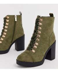 River Island - Wide Fit Chunky Lace Up Heeled Boots In Khaki - Lyst