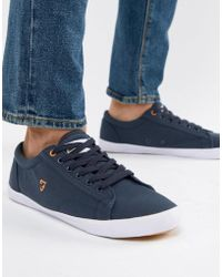 Farah - Vintage Brucey Canvas Trainers In Navy - Lyst