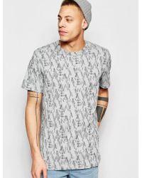 WÅVEN - T-shirt Lucas Crew Neck All Over Camo Logo Print - Lyst