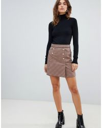 Oasis - A-line Mini Skirt With Button Front In Check - Lyst