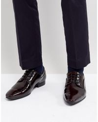 Dune - Lace Up Derby Shoes In Burgundy High Shine - Lyst