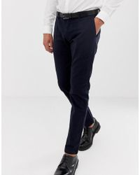 Esprit - Slim Fit Smart Trousers In Navy - Lyst