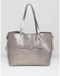 Glamorous - Metallic Grey Snake Shopper With Metal Zips - Lyst