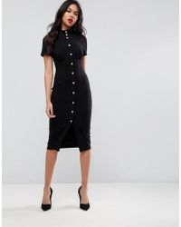 ASOS - Corset Midi Dress With High Neck & Popper Details - Lyst