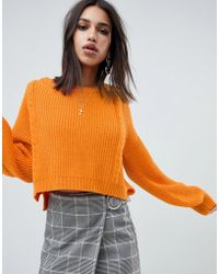 NA-KD - Cable Knit Balloon Sleeve Jumper In Orange - Lyst