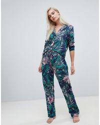 ASOS - Midnight Botanical Traditional Pyjama Shirt And Trouser Set 100% Modal - Lyst
