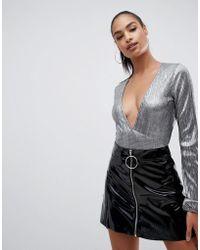 PrettyLittleThing - Plisse Plunge Body In Metallic Grey - Lyst