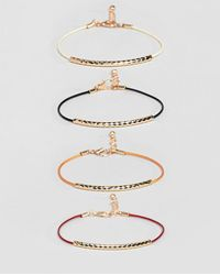 ASOS - Design Ditsy Bracelet Pack In Gold - Lyst