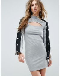 ASOS   Mini Dress With Popper Sleeve And Cut Out   Lyst