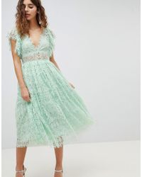 ASOS - Lace Prom Midi Dress With Frill Sleeve - Lyst