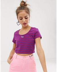 6926a50fb256 Lazy Oaf - Scoop Neck Fitted Tee In Retro Stripe - Lyst