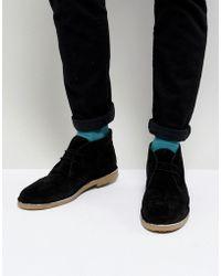 Dune - Desert Boots In Black Suede - Lyst