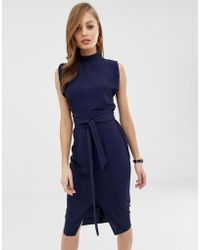 ASOS Split Sleeve Midi Dress With Obi Belt