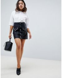 ASOS - Design Leather Look Mini Skirt With Studded Pocket Detail - Lyst