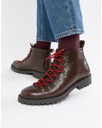 ASOS - Hiker Boot In Brown Leather With Flecked Laces - Lyst