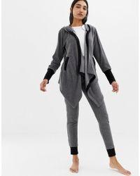 DKNY - Long Sleeve Cosy Loungewear Set In Grey - Lyst