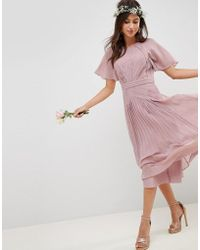 ASOS - Design Bridesmaid Pleated Paneled Short Sleeve Midi Dress With Lace Inserts - Lyst
